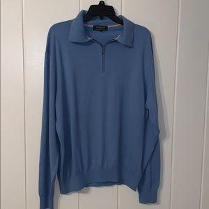 Bobby Jones Collection blue zip up neck sweater